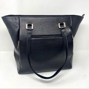 Nordstrom Black Leather Gold Shoulder Bag Tote